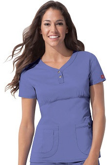Clearance Gen Flex by Dickies Women's Junior Youtility Henley Solid Scrub Top