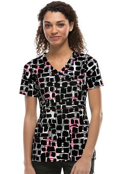 Clearance Gen Flex by Dickies Women's Mock Wrap Square Print Scrub Top
