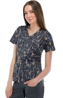 Gen Flex By Dickies Women's Mock Wrap Line Print Scrub Top