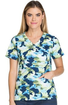 Fashion Prints by Dickies Women's Gen Flex Mock Wrap Camo Print Scrub Top