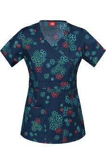 Clearance Gen Flex by Dickies Women's Mock Wrap Flower Print Scrub Top