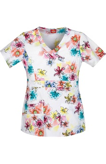 Gen Flex by Dickies Women's Mock Wrap Flower Print Scrub Top