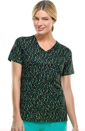 Clearance Gen Flex By Dickies Women's Mock Wrap Abstract Print Scrub Top