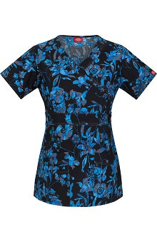 Clearance Gen Flex by Dickies Women's Mock Wrap Floral Print Scrub Top