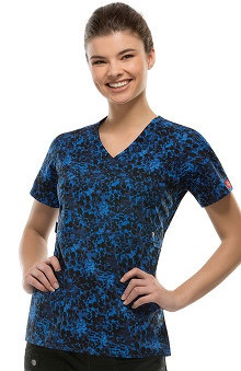 Gen Flex by  Dickies Women's Mock Wrap Abstract Print Scrub Top