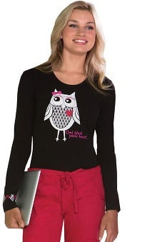 Everyday Scrubs Signature by Dickies Women's Long Sleeve Owl Print T-Shirt