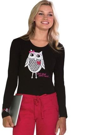 Clearance Everyday Scrubs Signature by Dickies Women's Long Sleeve Owl Print T-Shirt