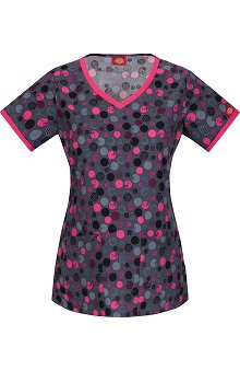 Fashion Prints by  Dickies Women's V-Neck Circle Print Scrub Top