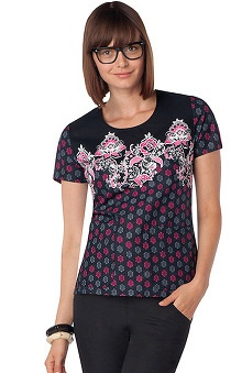 Gen Flex by Dickies Women's Junior Round Neck Flower Print Scrub Top