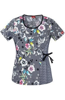 Clearance Fashion Geometric Prints by Dickies Women's Adjustable Side Tie Print Scrub Top