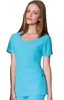 Clearance Xtreme Stretch by Dickies Women's Junior Mock Wrap Solid Scrub Top