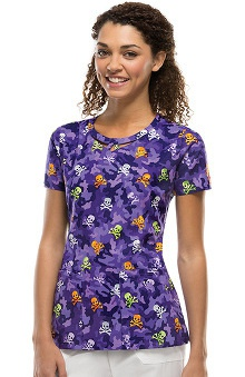 Clearance Everyday Scrubs Signature by Dickies Women's Round Neck Halloween Print Scrub Top