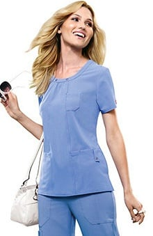 Xtreme Stretch by Dickies Women's Junior Stylized Seam Solid Scrub Top