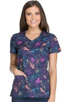 Fashion Prints by Dickies Women's V-Neck Butterfly Print Scrub Top