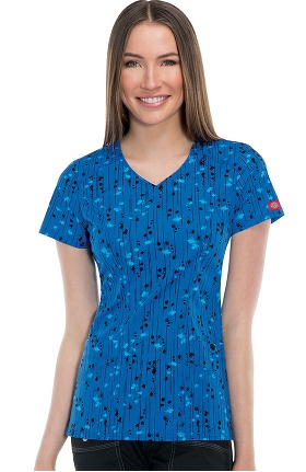 Clearance Gen Flex by Dickies Women's V-Neck Splat Print Scrub Top