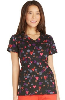 Gen Flex by Dickies Women's V-Neck Heart Print Scrub Top