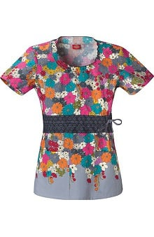 Clearance Fashion Flower Prints by Dickies Women's Junior Smocked Round Neck Print Scrub Top