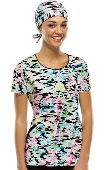 Fashion Prints by  Dickies Women's Round Neck Camo Print Scrub Top