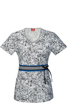 Fashion Prints by Dickies Women's V-Neck Animal Print Scrub Top
