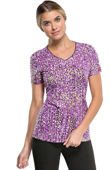 Xtreme Stretch by Dickies Women's V-Neck Windy Willows Print Scrub Top