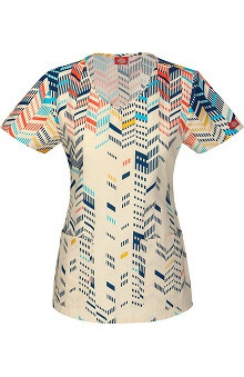 Clearance Fashion Geometric Prints by Dickies Women's V-Neck Print Scrub Top