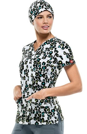 Clearance Gen Flex By Dickies Women's V-Neck Animal Print Scrub Top