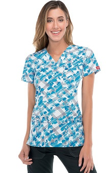 Gen Flex By Dickies Women's Youtility V-Neck Floral Plaid Print Scrub Top