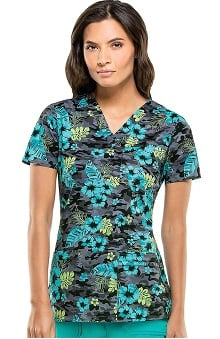 Gen Flex By Dickies Women's V-Neck Floral Print Scrub Top