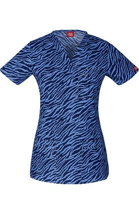 Clearance Gen Flex by Dickies Women's Youtility V-Neck Animal Print Scrub Top