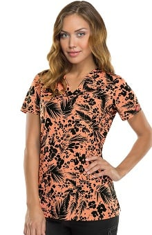 Gen Flex by Dickies Women's Youtility V-Neck Tropical Print Scrub Top