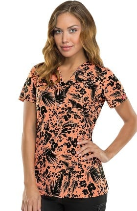 Clearance Gen Flex by Dickies Women's Youtility V-Neck Tropical Print Scrub Top