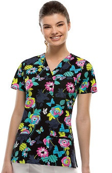 Clearance Gen Flex by  Dickies Women's Youtility V-Neck Butterfly Print Scrub Top
