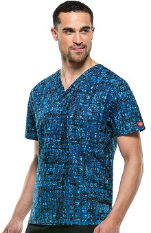 Everyday Scrubs Signature By Dickies Unisex V-Neck Abstract Print Scrub Top