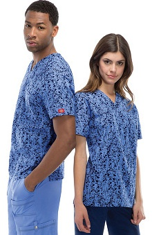 Fashion Prints by  Dickies Unisex V-Neck Abstract Print Scrub Top