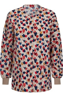Clearance Fashion Prints By Dickies Women's Eds Round Neck Heart Print Scrub Jacket