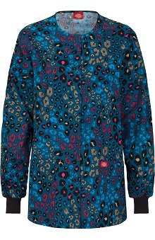 Fashion Prints by  Dickies Women's Round Neck Animal Print Scrub Jacket