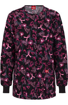 Fashion Prints by Dickies Women's Eds Round Neck Ribbon Print Scrub Jacket
