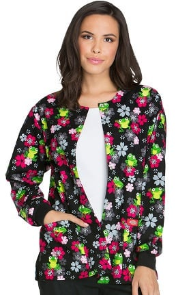 Everyday Scrubs Signature by Dickies Women's Snap Front Frog Print Scrub Jacket