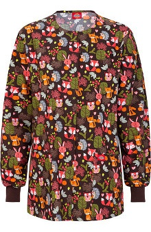 Fashion Prints by  Dickies Women's Round Neck Forest Print Scrub Jacket