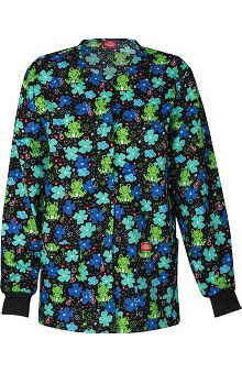 Clearance Everyday Scrubs Signature by Dickies Women's Round Neck Frog Print Scrub Jacket