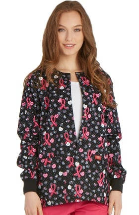 Clearance Breast Cancer Awareness by Dickies Women's Round Neck Ribbon Print Scrub Jacket