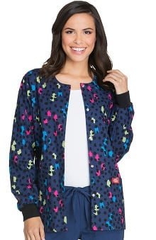 Everyday Scrubs Signature by Dickies Women's Round Neck Spot Print Scrub Jacket