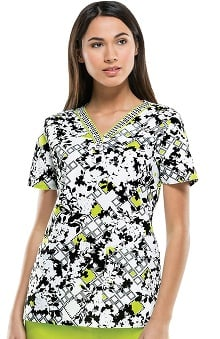 Everyday Scrubs Signature By Dickies Women's V-Neck Floral Geo Print Scrub Top