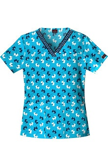 Everyday Scrubs by Dickies Women's V-Neck Dog Print Scrub Top