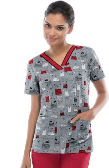 Fashion Prints by Dickies Women's V-Neck Bone Appetit Print Scrub Top