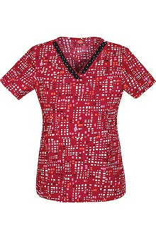 Everyday Scrubs by Dickies Women's V-Neck Abstract Print Scrub Top