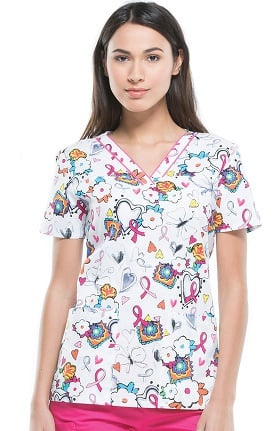 Clearance Breast Cancer Awareness by Dickies Women's V-Neck Ribbon Print Scrub Top