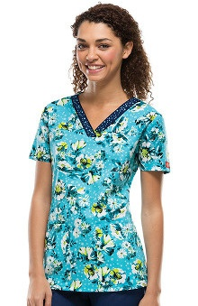 Fashion Prints by  Dickies Women's V-Neck Daisy Print Scrub Top