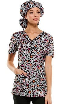 Everyday Scrubs Signature By Dickies Women's V-Neck Animal Print Scrub Top
