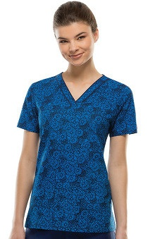 Fashion Prints by  Dickies Women's V-Neck On The Dance Floral Print Scrub Top
